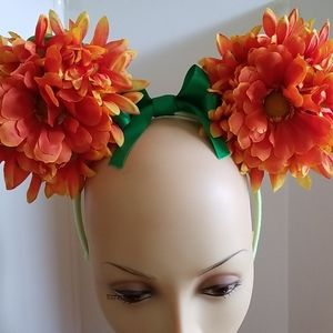 Floral headband with foam mouse ears